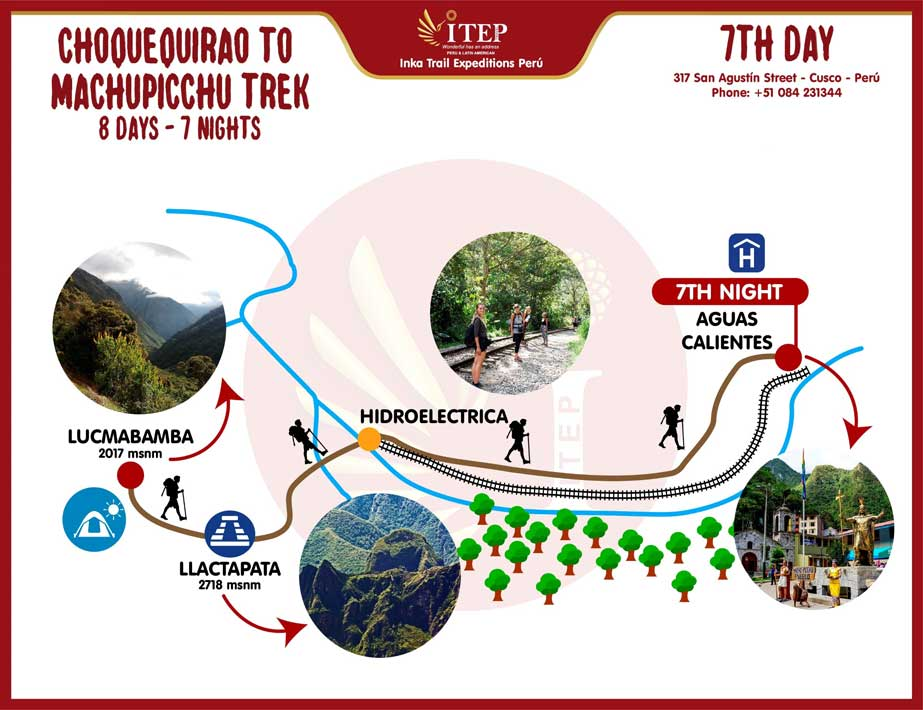 Map - Day 7: Lucmabamba | Llactapata – Hydroelectric – Aguas Calientes