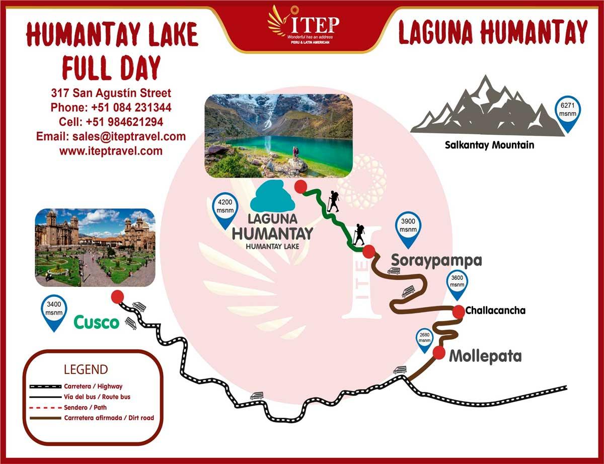 "Map - Day 1: Cusco - Soraypampa ""Humantay lake"" – Full Day."