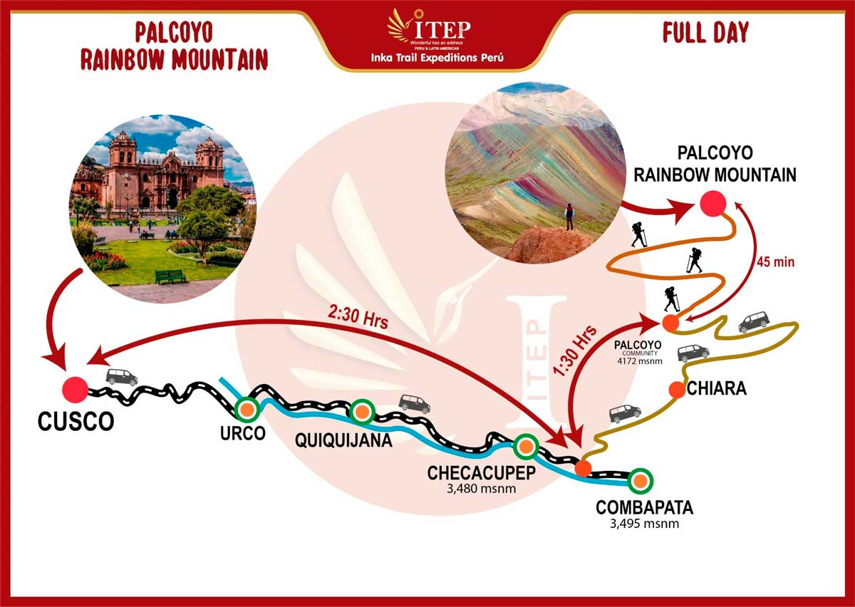 """Map - Day 1: Cusco – Checacupe """"Palcoyo Rainbow Mountain"""" – Full Day."""