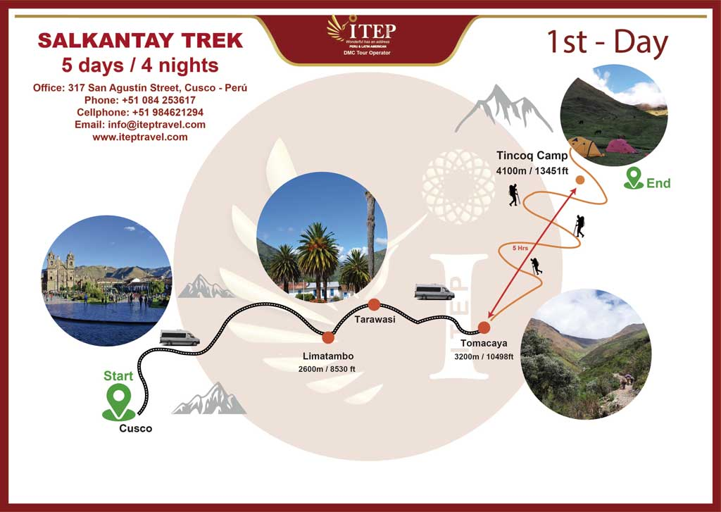 Map - Day 1: CUSCO – TOMACAYA COMMUNITY – TINCOQ CAMP