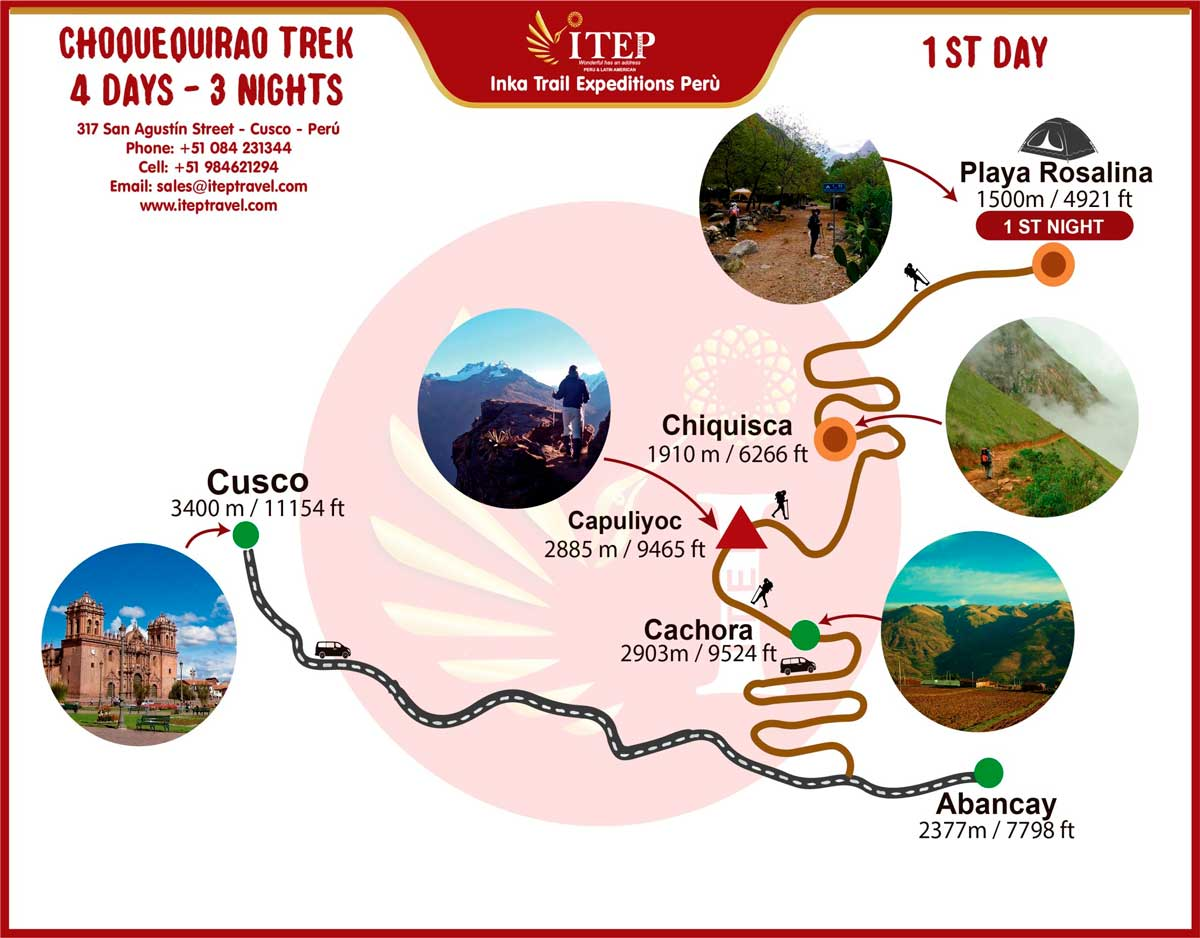 Map - Day 1: By Bus Cusco – Capuliyuc, Trekking from Capuliyuc to La Playa Rosalina