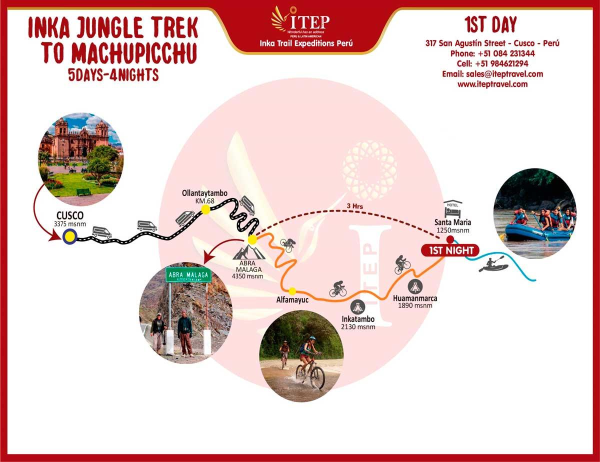 Map - Day 1:  Cusco – Abra Málaga – Santa María (Biking and Rafting)