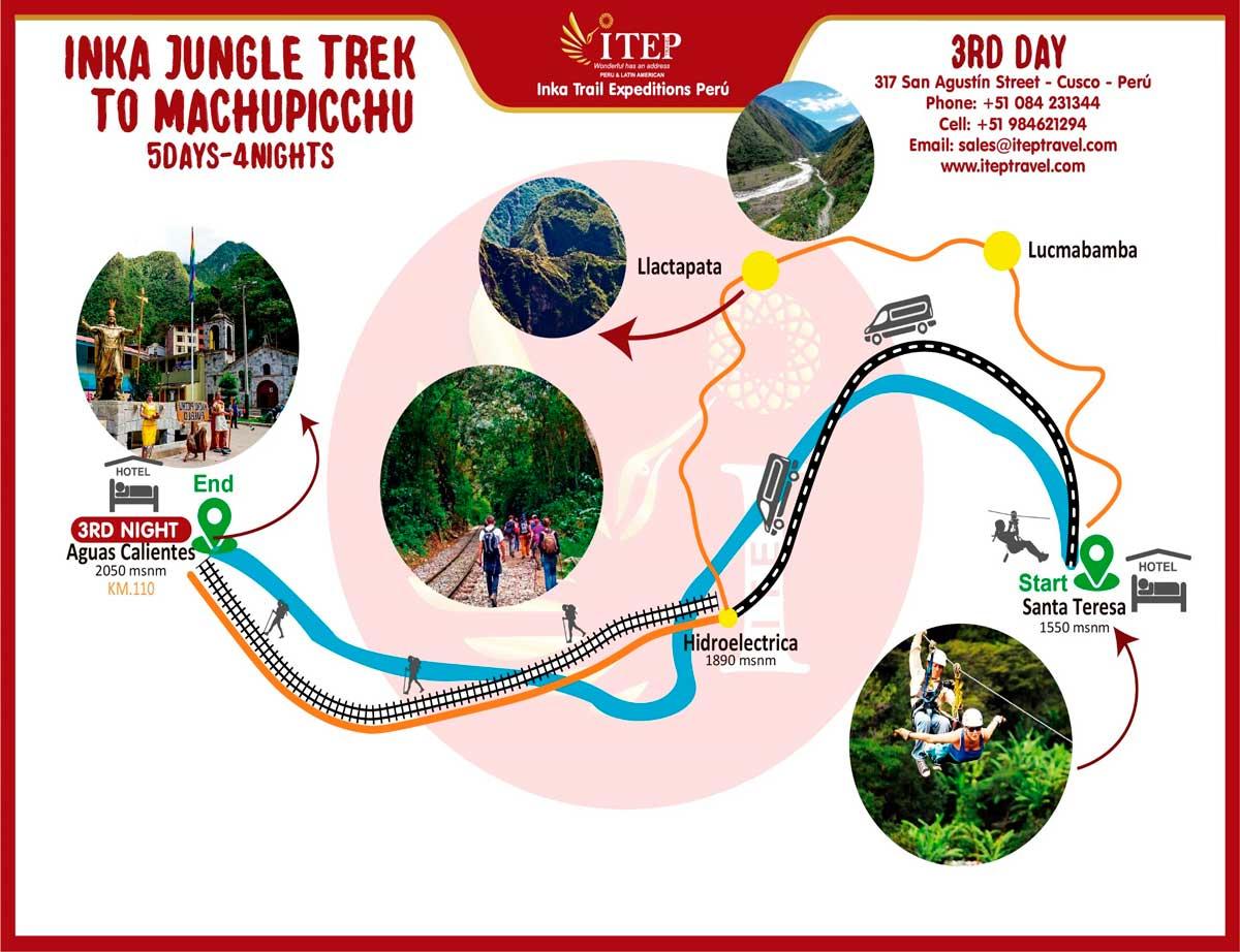 """Map - Day 3: Inca Trail by Llactapata """"1st view Machupicchu"""""""