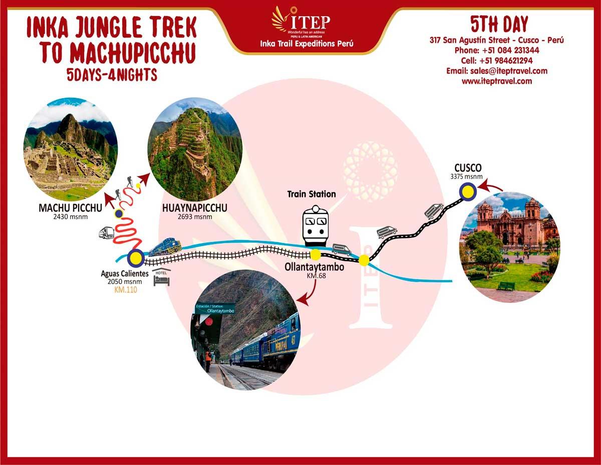Map - Day 5: 2nd entrance to Machupicchu Inca city Huaynapicchu Mountain or Machupicchu sacred Mountain