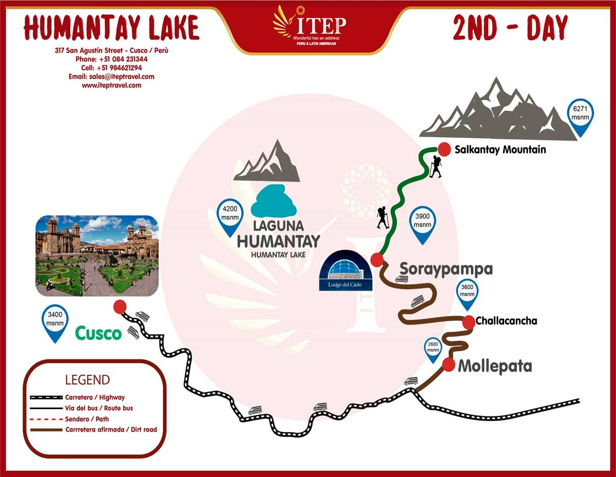 """Map - Day 2: Soraypampa – Salkantay Passa """"After middle day, return to Cusco"""""""
